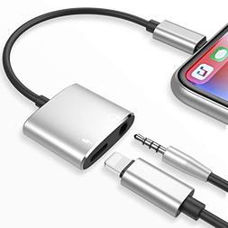Tenwow Compatible 2 in 1 Headphone Adapter Listen to Music w