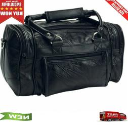 "12"" Leather Mens Toiletry Bag Shaving Kit Overnight Travel D"