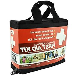 300 Piece 40 Unique Items First Aid Kit w/ Bag by M2 Basics