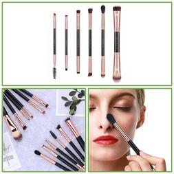 6 Pc Double Sided Travel Brush Set Pouch Synthetic Hair Make