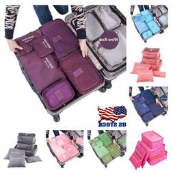 6Pcs Portable Waterproof Travel Storage Cube Organizer Packi