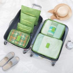 6Pcs Travel Luggage Organizer Bags Kit Packing Cubes Laundry