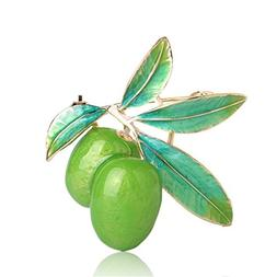 Astral Cute Green Fruit Brooch Plum Shape Gold Color Enamel