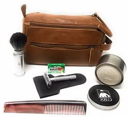 GBS Men's Shaving Set Travel Kit Dopp Toiletry Bag, Pure Bad