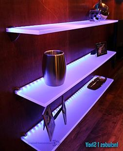 "LED Lighted Floating Bar Shelf - 5' Long x 4.5"" Deep w/ Powe"