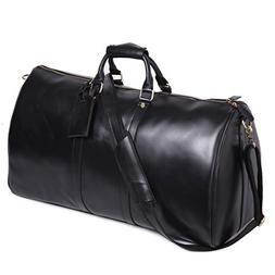 Leathario Mens Genuine Leather Overnight Travel Duffle Overn