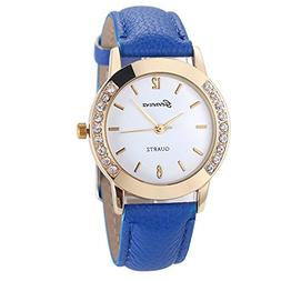 LtrottedJ Geneva Fashion Women Diamond Analog Leather Quartz