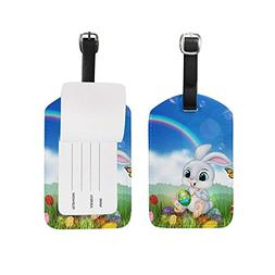Luggage Tags Happy Easter Rabbit Floral Flowers Eggs Cute Tr