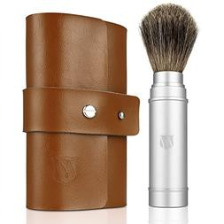 Miusco Badger Hair Shaving Brush Travel Kit with Leather Cas