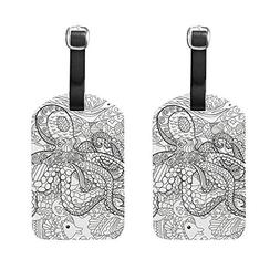 Set of 2 Luggage Tags Ocean Animal Octopus Suitcase Labels T
