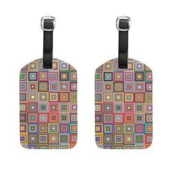 Set of 2 Luggage Tags Retro Colorful Square Suitcase Labels
