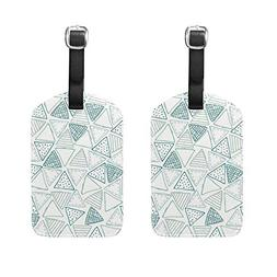 Set of 2 Luggage Tags Triangle Pattern Suitcase Labels Trave
