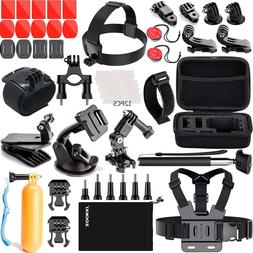 Action Camera Head Chest Mount Monopod Strap Accessories Kit