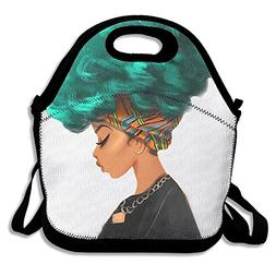 African American Black Women With Turquoise Green Hair Neopr