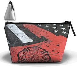 American Firefighter Thin Red Line Flag Axe Makeup Bag Trave