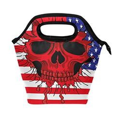 WOZO American Flag Sugar Skull Star Striped Insulated Lunch