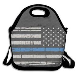 American Thin Blue Line Flag Lunch Box Bag Lunch Tote Lunch