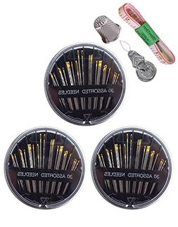 30 Count Assorted Hand Sewing Needles with Thimble Tape Meas