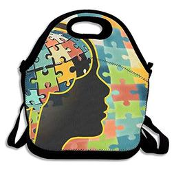 crysss Autism Brain Classic Lunch Bag Reusable Lunch Tote Lu