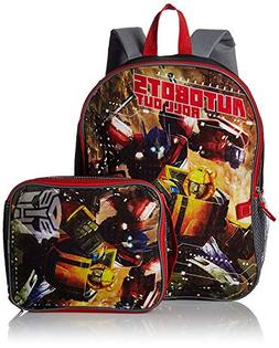 Transformers Boys' Backpack with Lunch Kit, Silver