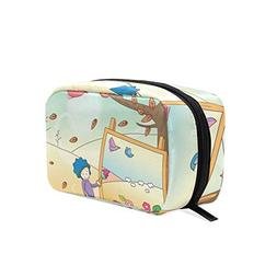 Cosmetic Bag Boy Painting Landscape On Canvas Girls Makeup O