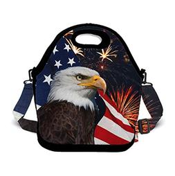 POP MKYTH Bald Eagle American Flag Fireworks Neoprene Lunch