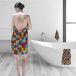 Bath towel set Colorful Autism Awareness Puzzle Pieces Bathr
