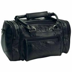 Black Leather Mens Toiletry Bag Shaving Kit Overnight Travel