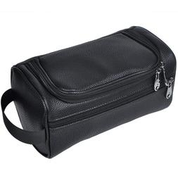 Black PU Leather Travel Toiletry Bags Mens Ladies Supply Toi