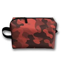 RONG FA Black Red Camo Pattern Portable Travel Makeup Bag,St