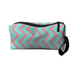 Blue And Red Wavy Lines Makeup Bag Zipper Organizer Case Bag