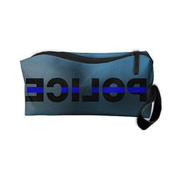 Blue Thin Line Police Handy Storage Pouch Travel Makeup Bag