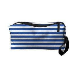 Blue And White Stripes Makeup Bag Zipper Organizer Case Bag