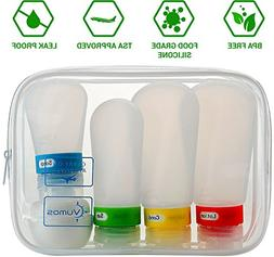 Travel Bottle Set with Leak Proof Silicone Bottles and Cream