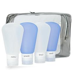GenkiTR Travel Bottles Set, Soft Silicone Refillable Portabl