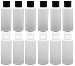 12 - 2-ounce Travel Bottles with Flip Caps