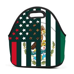 CuteHome Boys Girls Neoprene Mexican American Flag Lunch Bag