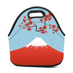 CuteHome Boys Girls Neoprene Sakura Poster Lunch Bag Insulat
