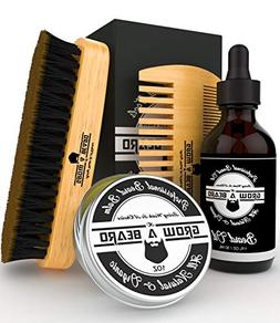 Beard Brush, Comb, Balm, Oil Grooming And Conditioner Beard