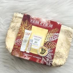 Burt's Bees Holiday Essential 4pc Travel Kit Gold Zippered P