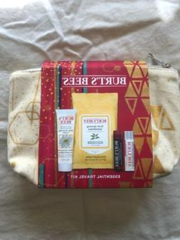 Burt's Bees Essential Travel Kit Lip Balm Facial Wipes Cle