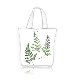 Canvas Beach Bags three fern leaves isolated on white Totes