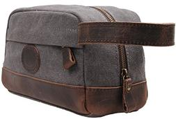 Iblue Leather Canvas Travel Bag Toiletry Kit Shaving Dopp Ca