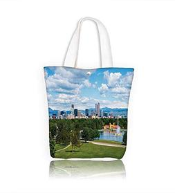 Canvas Shoulder Hand Bag Denver Colorado downtown with City