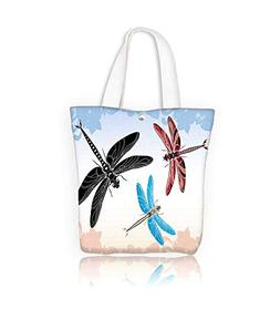 canvas tote bag dragonfly stencil in three