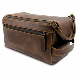 Case Vintage Travel Toiletry Bag Shaving Dopp Kit Men Leathe