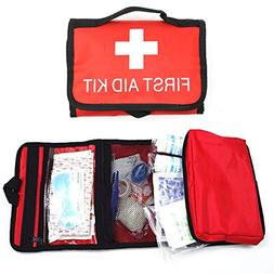 CC-US First Aid Kit in Red Bag with Reflective Stripfor emer