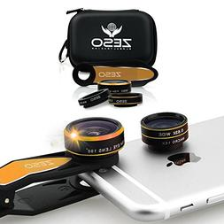 Cell Phone Camera Lens 3 In 1 Kit by Zeso | Professional Fis