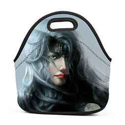 Chased Silver Woman Princess Lunch Bag Portable Bento Pouch