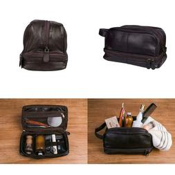 Classic Leather Toiletry Bag And Dopp Kit - Mens Travel And